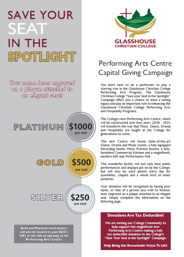 Save your seat in the spotlight capital campaign